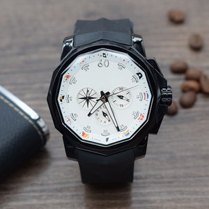 Yüksek kaliteli ADMIRAL'S CUP Hareketi Japon chronograph kuvars Oniki çokgenler Paslanmaz çelik Erkek Spor Saatler Kauçuk siyah kayış