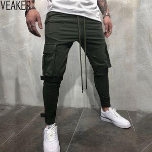 2018 осень новый мужской High Street тренировочные брюки брюки Мужские мульти карманные брюки-карго карандаш брюки мужчины сплошной цвет тренировочные брюки 3XL