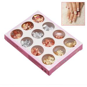 venda Hot 12 prego Pots Gold Silver Paillette Flake Foil Para Acrílico Gel UV Arte Decoração