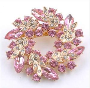 1 Adet Bling Bling Kristal Rhinestone Altın Çin Redbud Çiçek Broş Pins Takı Kadınlar Eşarp için Broşlar