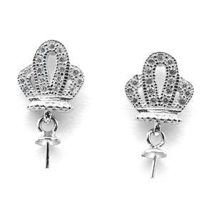 HOPEARL пустой ювелирные изделия Серьги, без жемчугом Корона 925 стерлингового серебра подвески DIY ювелирных изделий делая 3 пары