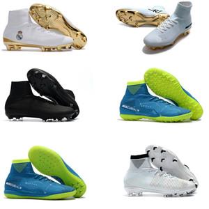 2020 erkek futbol krampon Mercurial Superfly V Ronalro FG kapalı futbol ayakkabıları çocuklar futbol ayakkabıları erkek botları Hızlı Paketi Mavi Rising Neymar CR7