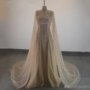 2019 elegante Vestidos Formal Champagne Tulle Cape Ruffles real Photo Show longo Sheer Partido Prom vestidos de noite vestir-se