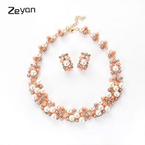 Zeyan مجموعة مجوهرات رائعة الذهب اللؤلؤ قلادة قلادة أقراط مجموعة النساء هدية الزفاف الكلاسيكية تقليد بيرل بيجو ZYTZ602