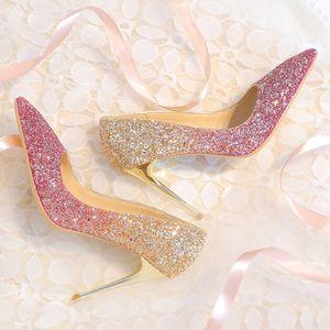 Bingling Ombre Payetli Düğün Ayakkabı Gelin Stiletto Topuk Balo Ziyafet Için Yüksek Topuklar Artı Boyutu Sivri Burun 3 Renkler ...