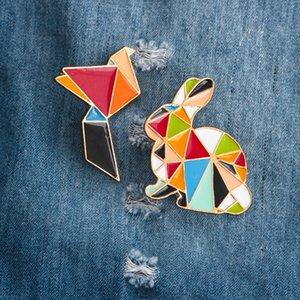 New Fashion Cartoon Animal Origami Bird Rabbit Metal Brooch Broche Pins Button Pins Jeans Bag Enamel Lapel Badge Decoration Gift