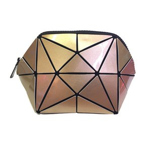 Fashion Cosmetic Bags 2018 New Makeup Case 5 Colors Geometric rhombic pattern shell bag Women Travel cosmetic bag 22*11.6*1.5CM