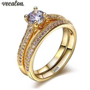 Vecalon 3 colori Lovers ring Set 5A Zircon Cz Gold Filled 925 argento Fidanzamento wedding Band anelli per le donne Gioielli da sposa