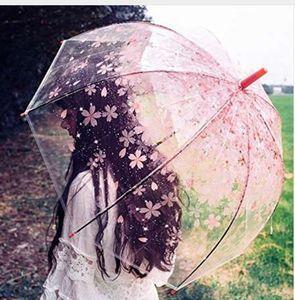 Fancytime Şeffaf Şemsiye Kiraz Çiçeği Mantar Apollo Prenses Şemsiye Uzun Sap Kadın Şemsiye çocuk Şemsiye