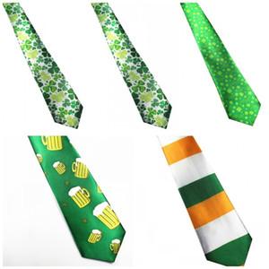 Irlandais Hommes Cravates Impression Numérique Arrowhead Shape Polyester Cravate Pour St Patricks Day Décoration Cravate Vert 3 9xw X