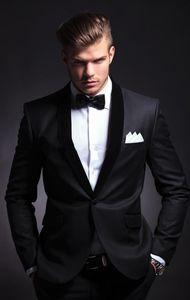 Классический черный жених смокинги друзья жениха одна кнопка Шаль отворотом лучший человек костюм свадьба мужские деловые костюмы (куртка + брюки + галстук)