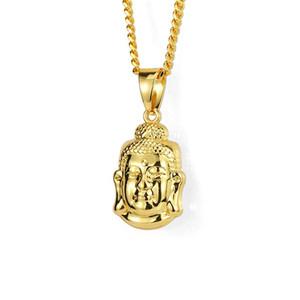 Moda Uomo Ice Out Piccola collana pendente Buddha 60cm Collana lunga catena Rock Micro Hip Hop Uomo d'oro per gli uomini