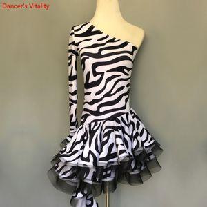 2018 New Zebra Single Shoulder Dress Girls Latin dance Performance Costume Competition Clothes Women Latin Dance Dress