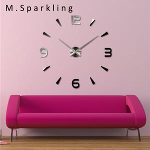 [M.Sparkling] 2017 Vente Chaude Numérique Horloge Murale Autocollant Acrylique Moderne 3D DIY Auto-Adhésif Grand Décoratif Mur Horloges 3 M013