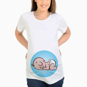 출산은 여름 짧은 소매 옷을 할 수 있은 디자인 임신 T 셔츠 엄마 아기 잠자는 출산 T 셔츠 탑