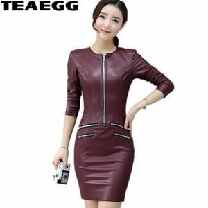 TEAEGG Plus Size abito a matita casual vino rosso a maniche lunghe in pelle pu abito donna abbigliamento Slim abiti invernali donna 2017 AL603