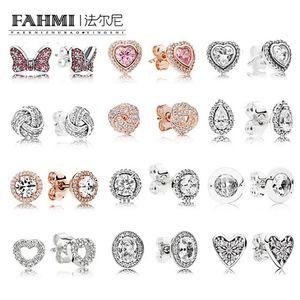 FAHMI 100% 925 Sterling Silver 1: 1 en forma de corazón encanto de arco de oro rosa en forma de lágrima de circón redondo elegante mujeres pendientes del perno prisionero