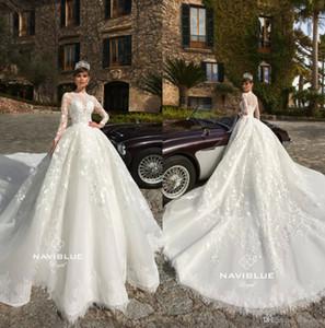 2019 Vestidos de novia de manga larga con tren de la catedral Joyas de encaje con cuello Vestidos Vestidos de novia Boho Beach Plus Size vestito da sposa