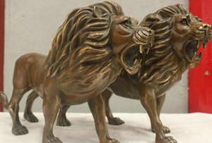 Cinese Cultura HandMade Old Brass Bronzo Statua Fu Dog Big Lion Pair Sculpture