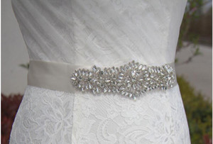 New Wedding Sashed Belt Silk Satin Handmade Flowers With Sparkly Crystal Beaded Sequin Cheap Burgundy Champagne Bridal Sash Belt White