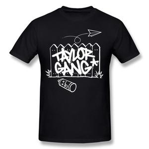 Homem de luxo 100% algodão tecido gangue taylor Camisetas Homem Em Torno Do Pescoço Azul Escuro Manga Curta Hip Hop Top Tees Tamanho Grande Normal Camisetas