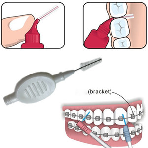 10 pz / set Plastica Spazzolino Interdentale 0.7mm Denti Spazzole per la Pulizia Ortodontico Filo interdentale Denti Stuzzicadenti Ruota Cura Orale