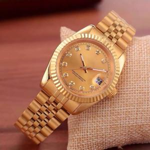 2019 marka üst lüks saat erkekler takvim siyah defne tasarımcı elmas toptan kaliteli bayan elbise altın saat reloj mujer gül saatler
