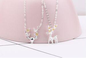 1 UNIDS Delicate fawn collar plateado cornamenta colgante collar de cadena collar clavada bonito regalo de navidad regalo de navidad decoración de navidad