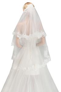 2019 Nouveau Seulement 9,99 $ Cheap deux couches bordure en dentelle Veil mariage avec peigne court de mariée Voile Accessoires de mariage En stock CPA1446