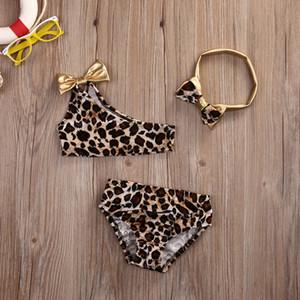 Mode Baby Gilrs Bikini Set Mit Stirnband Kind 3 stücke Sommer Bademode Druck Badeanzug Baby Kinder Kleidung Zwei stücke Neue Sommer Badeanzug