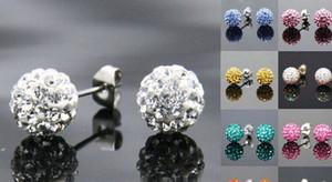 30pairs / lot 10MM Pave Disco Ball Perles Rondes Des Goujons En Cristal Tchèque mélangent Des Couleurs argentés