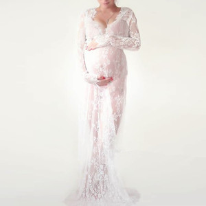 Maternity Dresses Photography Props White Black Lace  Fancy Pregnant Dress Maxi Pregnancy Dress for Photo Shoot M-4XL