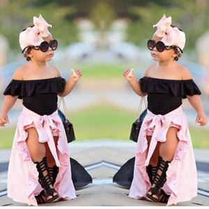 Verão Criança Bebés Meninas Roupas Define Ruffles Shoulder 3PCS s�ido preto t-shirts Tops + rosa saia + Shorts Crianças Meninas vestuário de luxo
