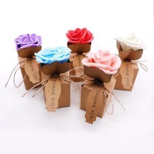 Kraft DIY Vintage Papier Bonbons Boîtes Cadeau Sac avec Fleur Rose Kraft Boîte De Papier Avec Fleur De Mousse Décoration De Mariage Faveurs