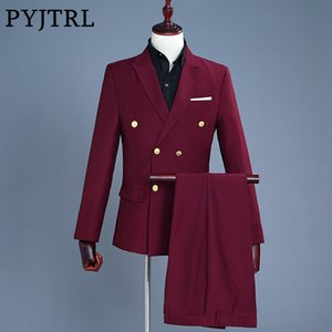 PYJTRL  2018 Wine Red Groom Tuxedo Wedding Singer Suits Double Breasted Slim Fit Suit Prom Dresses Fashion Casual Suit Men