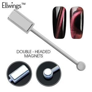 Ellwings 3D DIY مغنطيس برأسين لوحة مغناطيسية القلم أداة مانيكير مغناطيسية قوية ل Cat Eye UV Gel Nail Polish