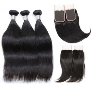 Brazilian Straight Virgin Hair Weave 3 Bundles with Closure Unprocessed Brazilian Virgin Silky Straight Human Hair Weave Weft Wholesale