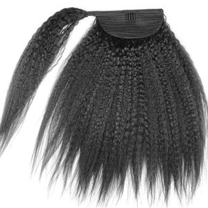 8A класс кудрявый Яки прямой конский хвост наращивание волос человеческих волос двойной уток бразильский необработанный Виргинский зажим для волос конский хвост шиньон 120 г