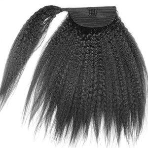 8A Grado Kinky Yaki Straight Ponytail Extensiones de Cabello Humano Doble Trama Brasileña Sin Procesar Virgen Clip de Pelo Ponytail hairpiece 120g