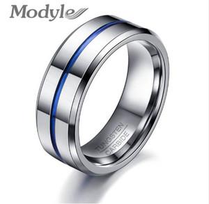 Mode Mince Bleu Ligne Tungsten Anneau De Mariage Marque 8 MM Anneaux En Carbure De Tungstène pour Hommes Bijoux