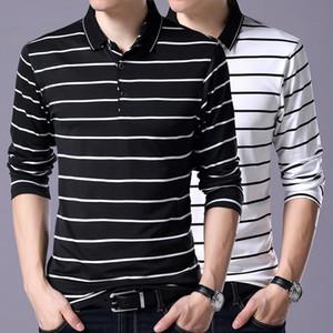 Neue lange polo männer hemd 95% baumwolle mode atmungsaktiv schlank streifen polo für männer hochwertige kleidung asiatische größe m-3xl