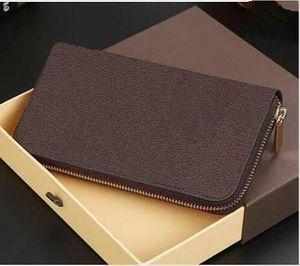 Chaud Haute Qualité Mâle Pu en cuir Portefeuille Casual Titulaire de cartes de style longue de style Pochette de poche Porte-monnaie pour femmes hommes avec boîte