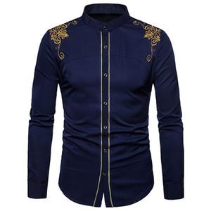 Feitong Erkekler Gömlek Mens Hipster Fit Uzun Kollu Düğme Nakış Aşağı Elbise Gömlek Bluz Tops 2018 Moda erkek Gömlek