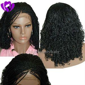 Bob Synthetic Box Geflochtene Lace Front Perücken Glueless kurze geflochtene Lace Perücken mit Babyhaar Natural HairLine für schwarze Frauen Half Hand Tied