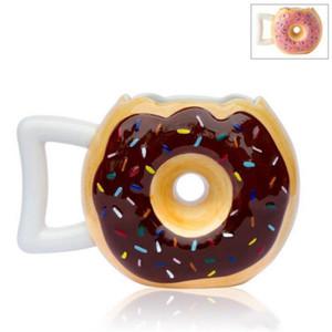 Schöne Design Keramik Tumbler Zwei Farben Nette Runde Donut Brot Kaffeetassen Einfach Zu Reinigen Mug Neuheit Stil 16jm ZZ