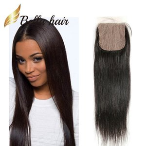 Bella Hair®4 * 4 실크베이스 클로저 100 % 페루 버진 인간의 머리카락 연장 10 ~ 20 자연 색상 실키 스트레이트
