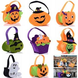 Хэллоуин тыква конфеты мешок мило улыбка корзина лицо дети подарок поручень сумка Сумка нетканое ведро реквизит украшения 8 стилей HH7-1347