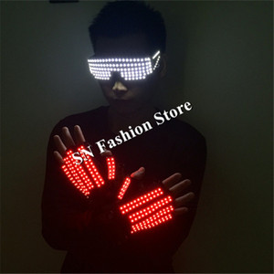 T3 Herren beleuchtete Handschuhe führte Kostüme Ballroom Dance Costum Bühnenshow LED Glas LED Handschuhe Licht Handschuhe DJ trägt Performance Bar tragen 1set