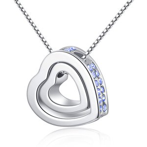 Fashion Parts Jewelry 7 colori Love You Forever Engraving Necklace Ladies Heart Pendant with Crystals new, for Gift, 45 + 5cm