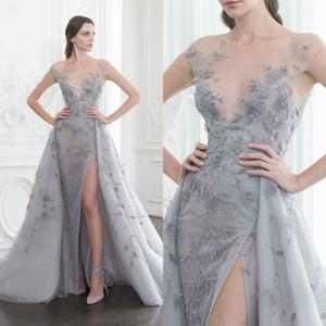 Encantador Paolo Sebastian Prom Dress Sheer Bateau Neck Ilusão Bodice Side Dividir Vestidos de Festa À Noite Com Trem Destacável